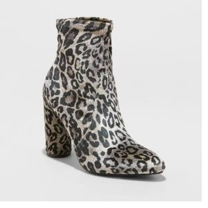 A New Day Norma Faux Velvet Leopard Print Booties